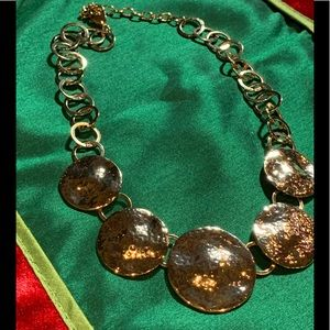 Jewelry - Gold hammered disco necklace